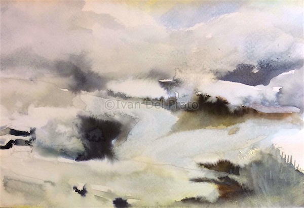 Paesaggio con neve sopra il lago d'Endine